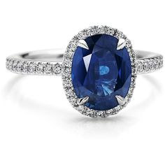 Blue Nile Sapphire and Micropavé Diamond Ring in 18k White Gold... ($6,350) ❤ liked on Polyvore