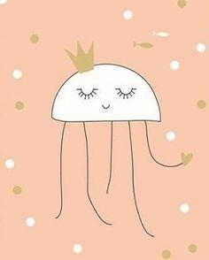 """Esta princesa de los mares os desea un muy feliz viernes   Lámina """"medusa""""-link en bio ☝"""