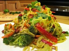 All Raw Zucchini Noodle Pad Thai. This looks so tasty! I think I'll make it this weekend.