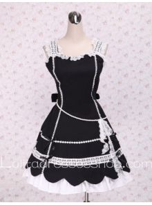 White lacing Hem Patel Shaped Skirt Black Punk LOlita Dress
