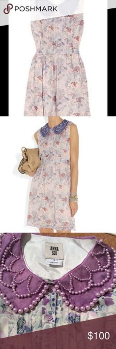 Anna Sui Embellished Printed Silk chiffon floral Preowned great condition worn only twice! Anna Sui Embellished Dress Anna Sui Embellished Printed Silk Chiffon Dress in Multicolor  sleeveless floral print dress Anna Sui Dresses