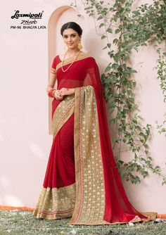 Buy this Magnificent Red #Embroidered #Georgette #Party_Wear #Stone_Work #Saree and Golden Rawsilk Blouse along with Silk Lace Border for your special occasion.  #Catalogue- #Zainab #DesignNumber- #Zainab 96 #Price - ₹ 3992.00  #Bridal #ReadyToWear #Wedding #Apparel #Art #Autumn #Black #Border#MakeInIndia #CasualSarees #Clothing #ColoursOfIndia #Couture#Designersarees #Dress #Dubaifashion #Ecommerce #EpicLove #Ethnic #Ethnicwear #Exc Fancy Sarees, Party Wear Sarees, Indian Outfits, Indian Clothes, Lehenga Saree, Dubai Fashion, Lace Border, Saree Collection, Daily Wear
