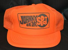 "Vintage Rare ""Johnny On The Spot"" Porta Potty Orange Mesh Trucker Snapback Hat"