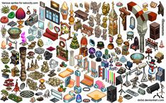 Lots of isometric objetcs for Kekocity.com by rbl3d on deviantART