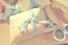 vintagecottagefrench: Brown paper packages (with the Eiffel Tower on them) tied up with string…. (okay, blue ribbon)…these are a few of my favorite things…… does anyone remember this, from. Best Tumblr Pictures, Paris 3, Reason To Breathe, Brown Paper Packages, Pretty Packaging, Packaging Ideas, Packaging Design, Paper Packaging, Gift Packaging