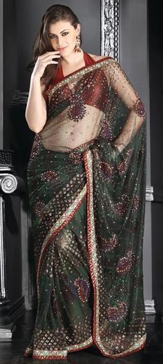Saree is crafted with sequins, resham, stone and patch work. Length of sarees with attached blouse pc. is mtrs. Costume/Outfit - Saree with Blouse piece. Indian Dresses, Indian Outfits, Indian Clothes, Indian Beauty Saree, Indian Sarees, Choli Dress, Saree Navel, Beautiful Suit, Saree Blouse Patterns