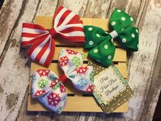 Set of 3 Christmas hair bows  ready to ship by PinkHairBowBoutique