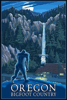 Spooky! Bigfoot by nightfall. Oregon Bigfoot Country & Multnomah Falls - Lantern Press Poster
