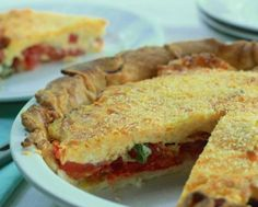 Garden fresh tomatoes in tomato pie make for a savory summertime treat Get the recipe from HGTV.