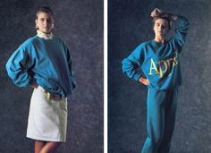HUH. - Apple's 1986 Clothing Collection - Wish i could get one of each. Looove the cyan jogging suit