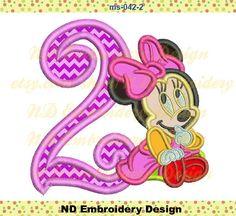 Minnie Mouse Applique  nd Birthday Disney Machine