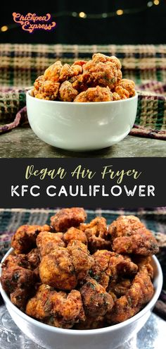 Copycat kfc fried chicken with a vegan twist. Made with air fried cauliflower, this kfc cauliflower recipe is healthy and oil free! Just like the kfc fried chicken, seasoned with 13 spices. Air Fryer Recipes Vegan, Vegan Dinner Recipes, Whole Food Recipes, Vegetarian Recipes, Cooking Recipes, Dinner Healthy, Beef Recipes, Easy Recipes, Chicken Recipes