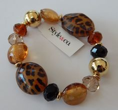 Style and Co Animal Print and Amber Color Bead Stretch Bracelet NEW! #STyleandCo #Statementstretchbracelet
