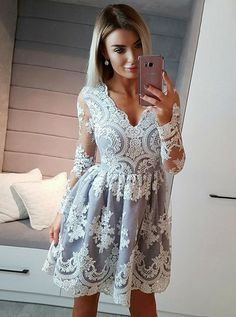 long sleeves homecoming dresses, applique homecoming dresses, light blue homecoming dresses, elegant homecoming dresses, short prom dresses, formal dresses, party dresses#SIMIBridal #homecomingdresses