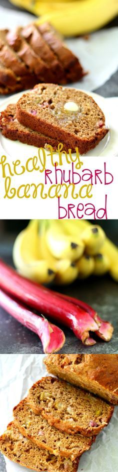 Healthy Rhubarb Banana Bread recipe- this whole grain quick bread recipe is beyond delicious. The combination of rhubarb and banana is incredible. Each slice is just over 100 calories, so feel free to eat a ton!