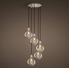 20th C. Factory Filament Clear Glass Café Round Pendant - Master Bedroom $389