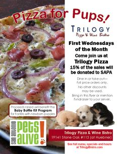 San Antonio Pets alive event: PizzaForPetsFlyer1  If you live in San Antonio or surrounding area this is a great way to spend the evening with your pet, eat great nafood and all the while donating a certain percentage for SAPA!