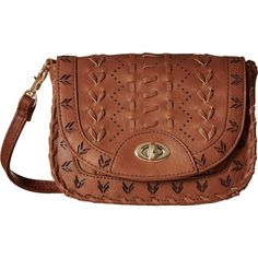 Gabriella Rocha Leonie Whipstitch Turnlock Crossbody (Cognac) Cross Body Handbags featuring polyvore, women's fashion, bags, handbags, shoulder bags, tan, brown crossbody purse, brown crossbody, crossbody purse, crossbody shoulder bags and crossbody handbags