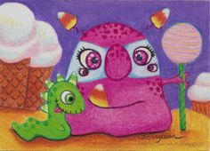 ACEO Original cute candy monster and friend drawing TW OCT P4PMJFF by Jenny Luan #Realism