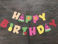Happy Birthday Banner Tutti Frutti Fruit Party Decor Diy Birthday Banner, Happy Birthday Banners, Birthday Party Decorations, Summer Party Decorations, Fruit Birthday, 2nd Birthday Parties, Birthday Cupcakes, Luau Pool Parties, Luau Party