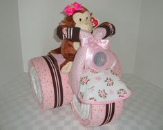 Best Baby Gifts for Girls | ... , Diaper Cake, Baby Shower Gift ,Centerpiece, Baby Girl, Pink & Brown