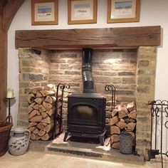 Great fireplace & hearth inspiration, tips, and chimney care advice: www.chimney… Great fireplace & hearth inspiration, tips, and chimney care advice: www. Wood Stove Hearth, Wood Burner Fireplace, Inglenook Fireplace, Fireplace Hearth, Fireplace Design, Wood Stove Surround, Fireplace Ideas, Wood Stove Decor, Wood Stove Chimney