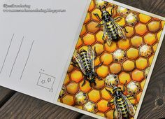 """coloring: """"The bee hive"""" from Hanna Karlzon's Sommarnatt postcard coloring book. Chameleon pens and caran'dache pastel pencil"""