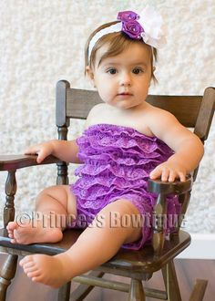 Dark Purple Lace Baby Toddler Romper: Buy Baby Headbands & Hair Bows at Princess Bowtique Adorable!