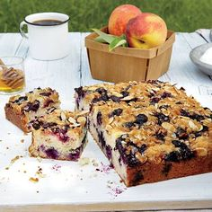 Pin of the Day brings you a moist coffeecake studded with fresh blueberries and topped with a crunchy almond streusel