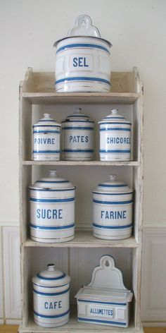 6 FRENCH ENAMELWARE GRANITEWARE kitchen canisters vintage french kitchen blue and white enamel