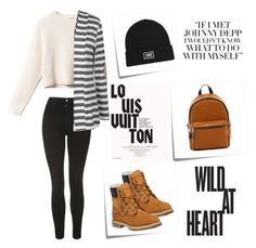 """Wild At The Heart"" by amraaaaa ❤ liked on Polyvore featuring Topshop, Post-It, French Connection, Timberland, Louis Vuitton and Vans"