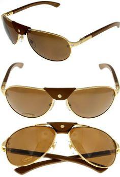 9e4ff36442 Cartier Sunglasses Polarized Santos-Dumont Aviator Wood Unisex T8200862