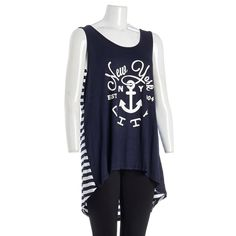 This cute hi-lo graphic tank top is perfect to throw on when you are on the go but still want to look stylish. It features a cool graphic design on the front and stripe print on the back. Pair with your favorite jeans or leggings.