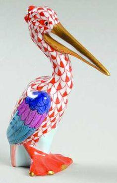 Herend Hand PaintedPorcelain Figurine Pelican Rust Fishnet Gold Accents.
