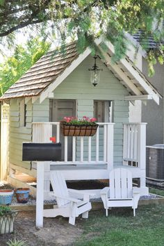The Playhouse Project Part Deux: Outdoor Accessories - Suburble - DIY Outdoor Playhouse idea for kids, including accessories like flowers, lights, furniture and more - Outside Playhouse, Backyard Playhouse, Build A Playhouse, Playhouse Ideas, Girls Playhouse, Playhouse Windows, Cubby Houses, Play Houses, Playhouse Furniture