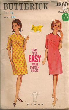 Vintage 1960's Dress Pattern Butterick 4360.