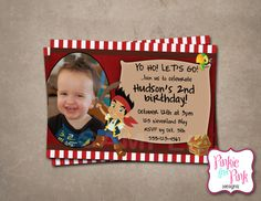 Personalized Jake and the Neverland Pirates Birthday Party Invitation- Digital File Download on Etsy, $6.00