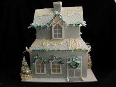 Beach DecorLightedMiniature Christmas House by tropicalcottage