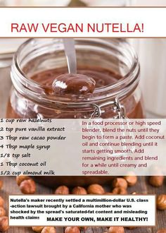 Looking for a Healthier Way to Eat Nutella, Try This! I am a big fan of Nutella but not a big fan of all that sugar. If you are in the same predicament, then try the healthy vegan version of Nutella found below. Desserts Crus, Raw Desserts, Doce Light, Whole Food Recipes, Cooking Recipes, Vitamix Recipes, Yummy Recipes, Cooking Tips, Cocina Natural