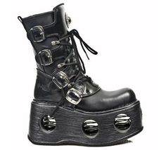 Cheap new rock shoes Metallic Black Boots M.373-S2 is on for sale. Price: £160.85 - £206.99