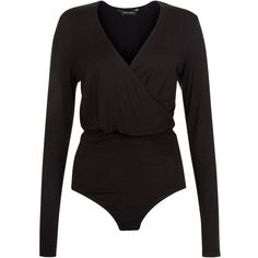 7338585200 Black Wrap Front Bodysuit ($22) ❤ liked on Polyvore featuring tops, long  sleeve