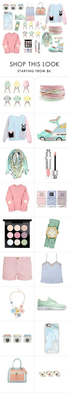 """""""Pastels"""" by sorinetzu ❤ liked on Polyvore featuring Ciel, Kate Spade, Calypso St. Barth, Christian Dior, Nails Inc., MAC Cosmetics, Michele, Current/Elliott, Alessandra Mackenzie and Mixit"""