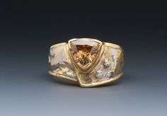 """Natural Zircon and Diamond Ring set in 18k in a 1/2"""" Platinum 24k 22k 18k Band by Marne Ryan"""