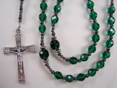 Men's Rosary Catholic Necklace 25 1/2 inch Emerald Green Czech Glass Beads Black Masculino Collar Rosario Free shipping USA by TheGemBeadLink on Etsy