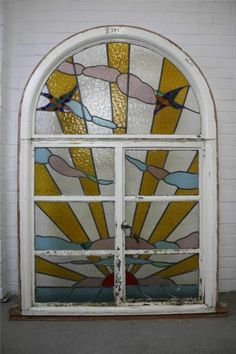 Large Reclaimed Art Deco Stained Glass Leaded Window Sunrise Sun Birds Swallows | eBay