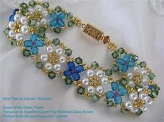 "Color Variation of Deb Roberti's ""Garden"" Bracelet. Pattern for sale at AroundTheBeadingTable.com"