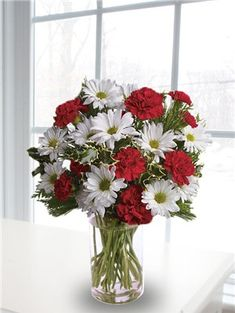 white daisies arrangements | ... of christmas flowers including red  carnations and white daisies