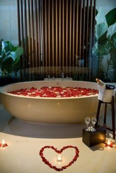 Romantic Red Rose Petal Bath Champagne And Candles With A Heart Drawn Out On The Floor Petalsthat Would Be Wonderfully Wedding