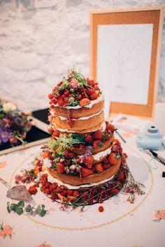 Naked Cake Sponge Fruit Berries Rustic Home Made Farm Wedding http://blondiephotography.co.uk/