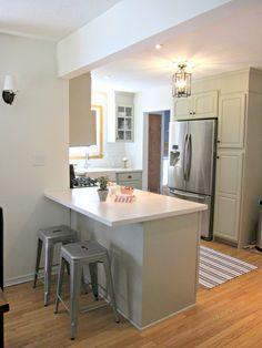 industrial bar stools, Corian Linen Counters, BM Senora Gray cabinets